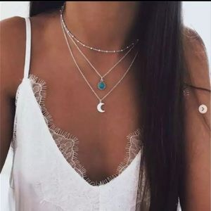 New Chain Long Moon Statement Necklace Pendant